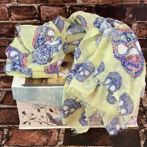 Yellow Skull Scarf with Raw Hems
